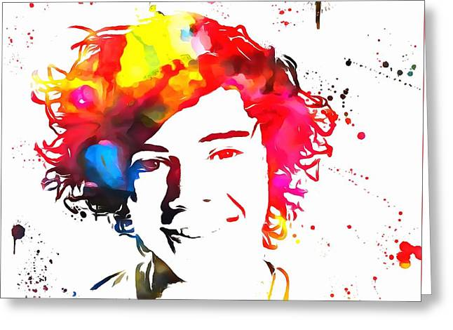 Harry Styles Paint Splatter Greeting Card by Dan Sproul