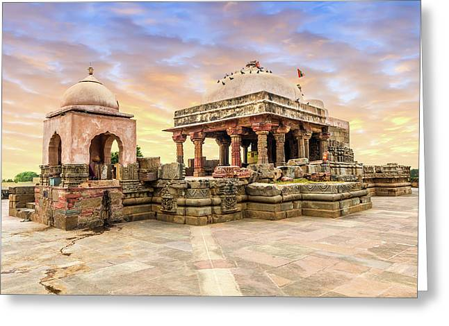 Harshat Mata Temple  Greeting Card by Nila Newsom