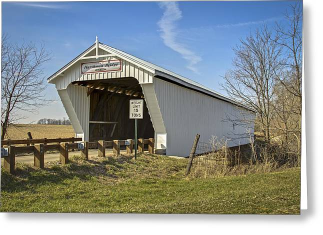 Harshman  Covered Bridge Greeting Card by Jack R Perry