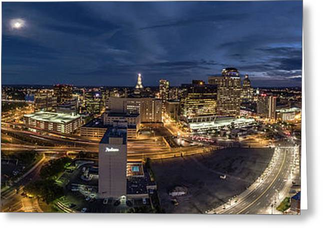 Greeting Card featuring the photograph Hartford Ct Night Panorama by Petr Hejl