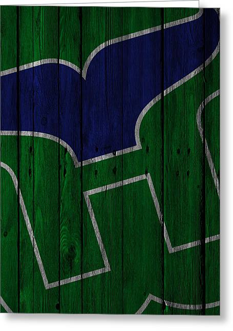 Hartford Whalers Wood Fence Greeting Card by Joe Hamilton