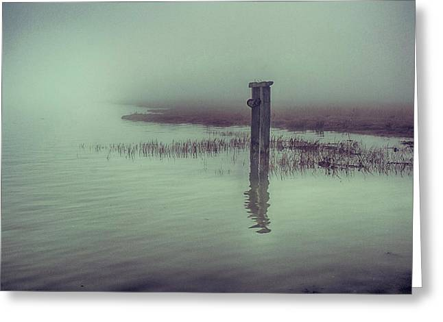 Harty Ferry In The Fog Greeting Card by Dave Godden
