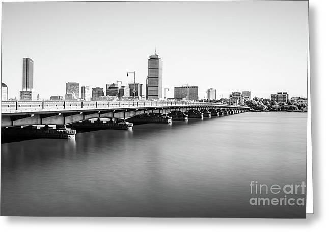 Harvard Bridge Boston Skyline Black And White Photo Greeting Card by Paul Velgos