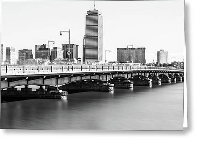 Harvard Bridge Boston Skyline Panorama Photo Greeting Card by Paul Velgos