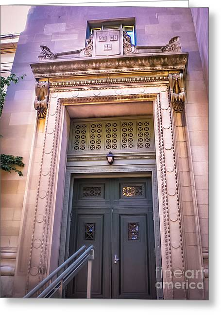 Harvard Building Entrance Greeting Card by Claudia M Photography