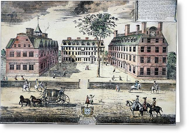 Harvard College, C1725 Greeting Card by Granger