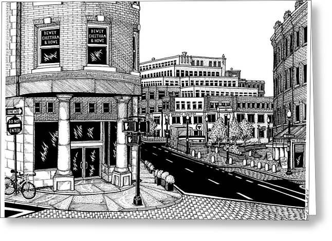 Harvard Square Greeting Card by Conor Plunkett