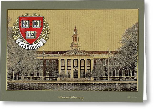 Harvard University Building Overlaid With 3d Coat Of Arms Greeting Card