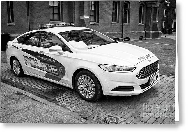 harvard university campus police patrol vehicle Boston USA Greeting Card