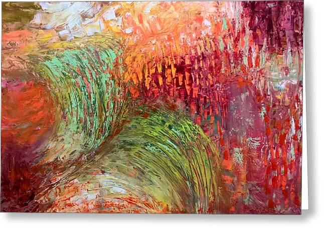 Greeting Card featuring the painting Harvest Abstract by Nicolas Bouteneff