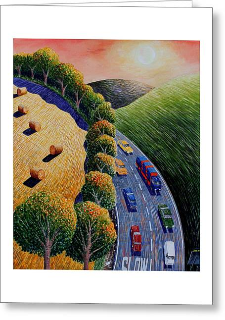 Harvest And Highway Greeting Card by Adrian Jones