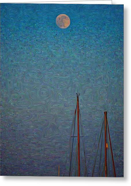Harvest Full Moon With Boat Masts Greeting Card