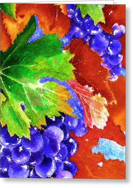 Harvest Grapes - Impressionist Digital Painting Greeting Card by Rayanda Arts