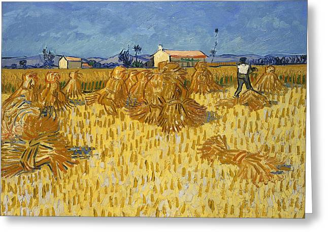 Harvest In Provence Greeting Card by Vincent van Gogh