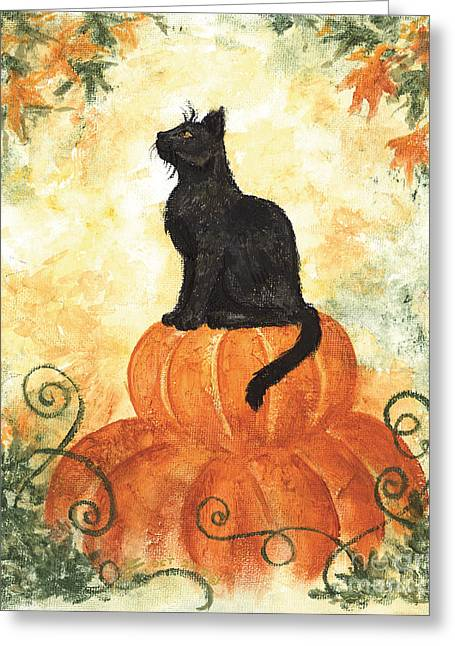 Harvest Art Greeting Cards - Harvest Kitty Greeting Card by Brandy Woods