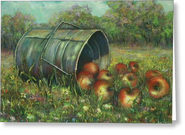 Greeting Card featuring the painting Harvest With Red Apples by Luczay