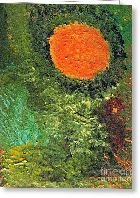 Harvest Moon Abstract Greeting Card by Shelly Wiseberg