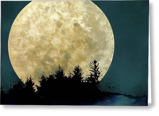 Harvest Moon And Tree Silhouettes Greeting Card by Carol Leigh