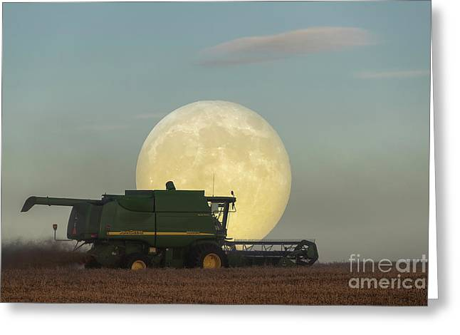 Greeting Card featuring the photograph Harvest Moon by Brad Allen Fine Art