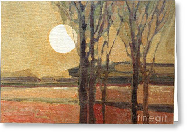 Harvest Moon Greeting Card by Donald Maier