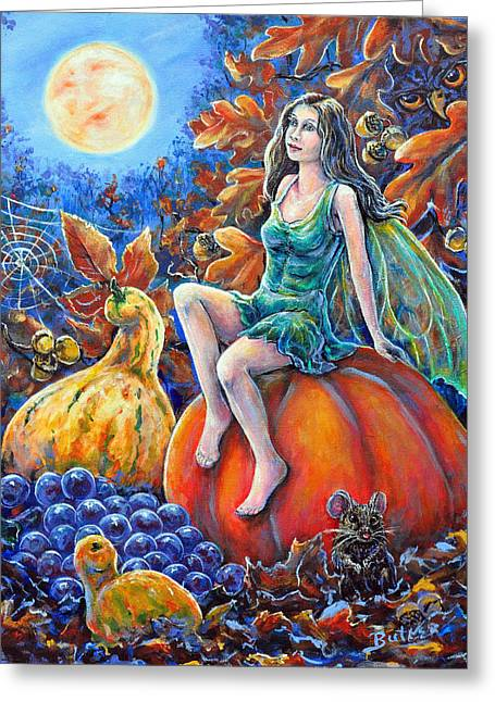 Harvest Moon Greeting Card by Gail Butler