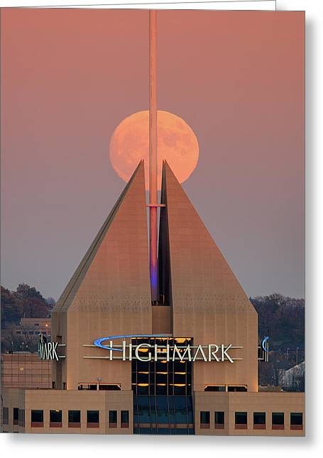 Greeting Card featuring the photograph Harvest Moon In Pittsburgh  by Emmanuel Panagiotakis