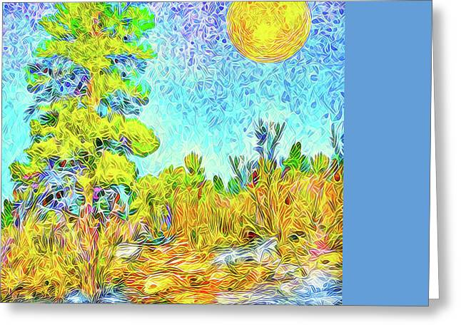Greeting Card featuring the digital art Harvest Moon On Crystal Mountain - Boulder County Colorado by Joel Bruce Wallach