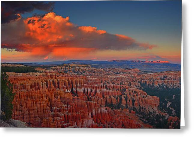 Harvest Moon Over Bryce National Park Greeting Card