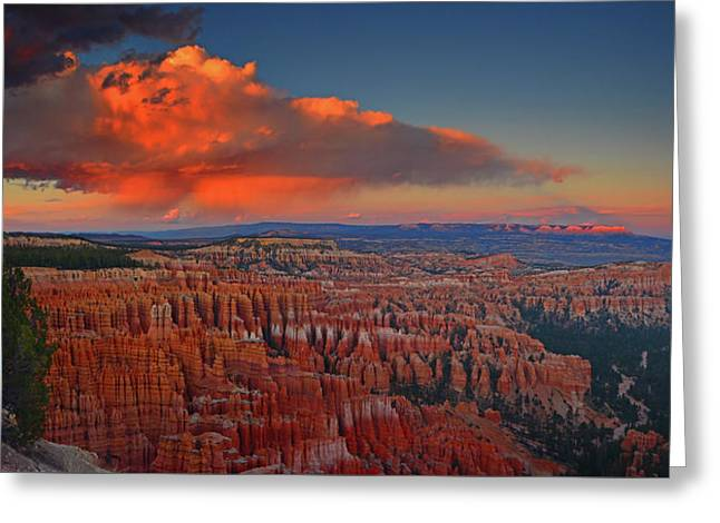 Harvest Moon Over Bryce National Park Greeting Card by Raymond Salani III
