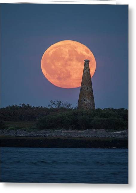 Harvest Moon Over Stage Island, Maine Greeting Card