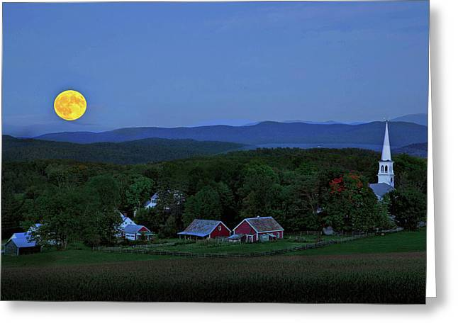 Harvest Moon Over Peacham Vermont Greeting Card