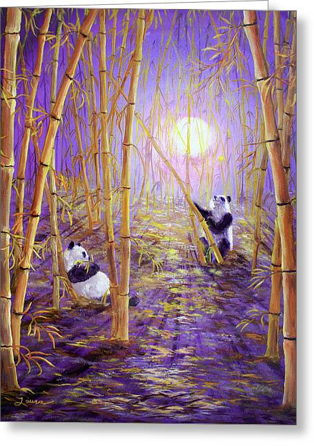 Harvest Moon Pandas  Greeting Card by Laura Iverson