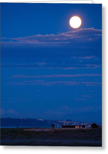 Harvest Moon Greeting Card by Paul Kloschinsky