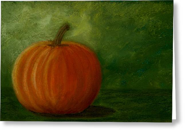 Harvest Moon Pumpkin Greeting Card by Cheryl Albert
