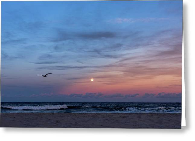 Harvest Moon Rising 2016 Lavallette Nj Greeting Card by Terry DeLuco