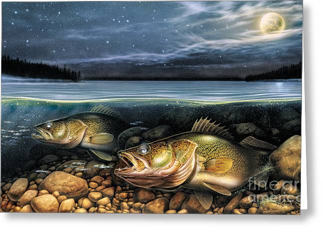 Harvest Moon Walleye 1 Greeting Card by JQ Licensing