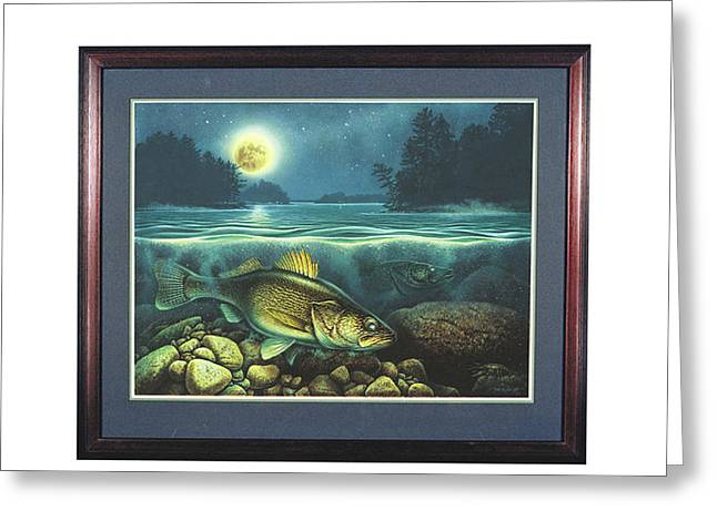 Harvest Moon Walleye 3 Greeting Card by Jon Q Wright