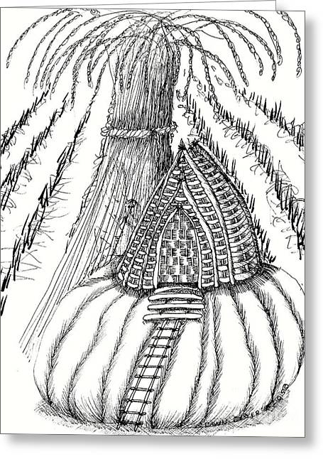Harvest Pumpkin Fairy House Greeting Card by Dawn Boyer