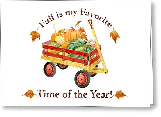 Harvest Red Wagon Pumpkins N Leaves Greeting Card