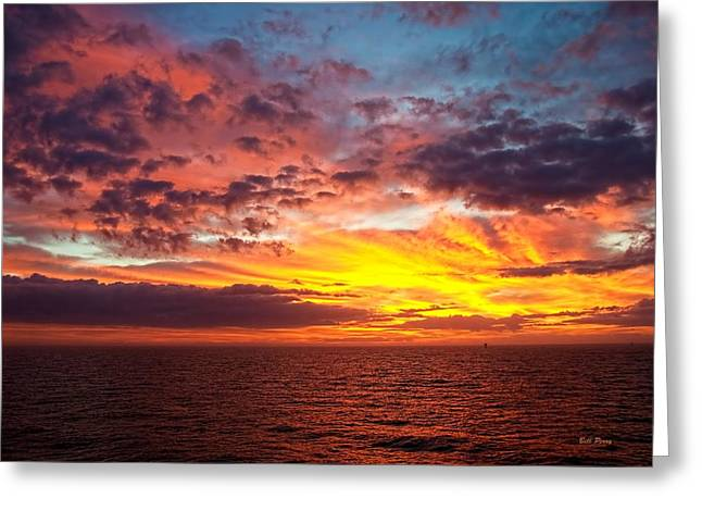 Harvest Sunrise In The Gulf  Greeting Card by Bill Perry