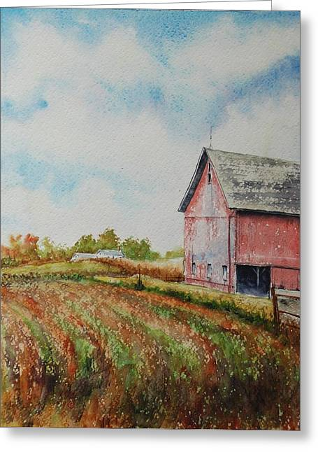 Indiana Autumn Scenes Paintings Greeting Cards - Harvest Time Greeting Card by Mike Yazel