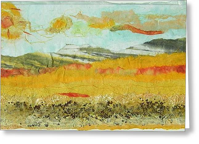 Harvest Time On The Prairies Greeting Card by Naomi Gerrard