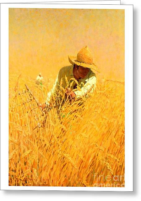 Greeting Card featuring the painting Harvesting The Wheat 1908 Harvey T Dunn by Peter Gumaer Ogden