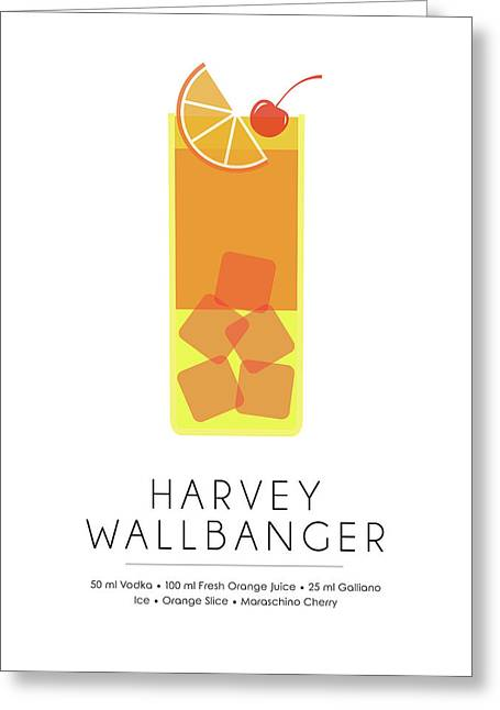 Harvey Wallbanger Classic Cocktail - Minimalist Print Greeting Card