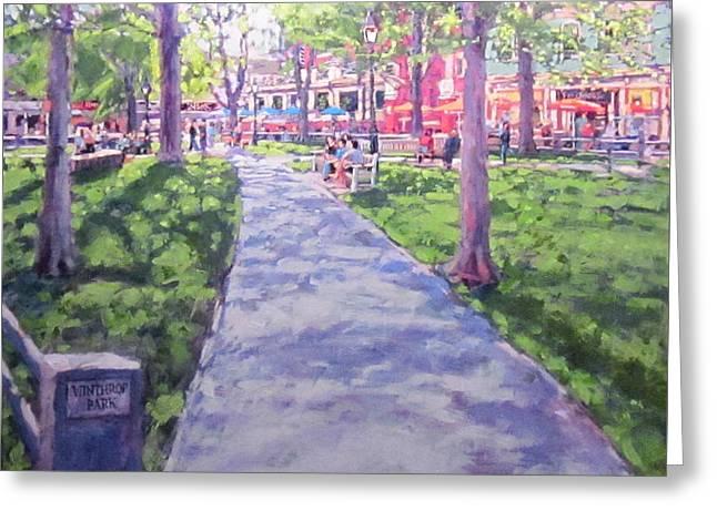 Harvard Square Winthrop Park Seasons Spring Greeting Card by Sean Moore