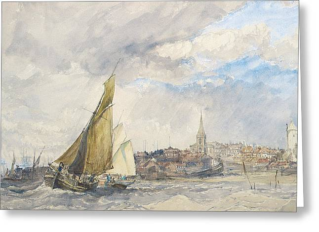 Harwich From The Sea Greeting Card by Charles Bentley
