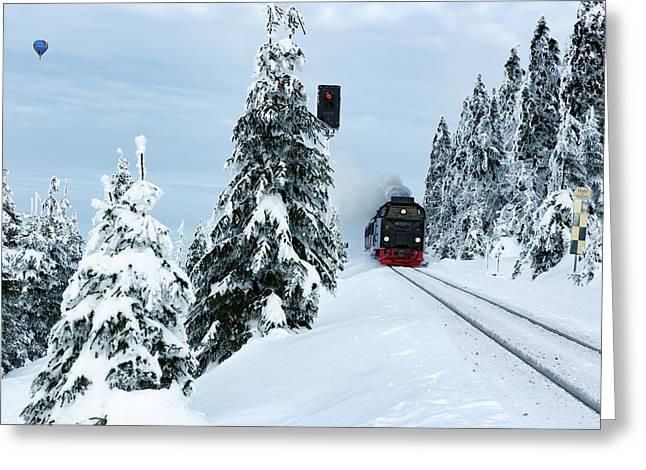 Harz Ballooning And Brocken Railway Greeting Card