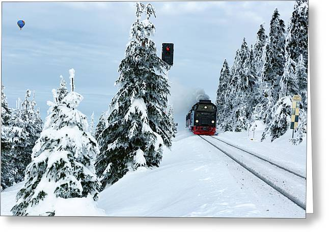Harz Ballooning And Brocken Railway Greeting Card by Andreas Levi