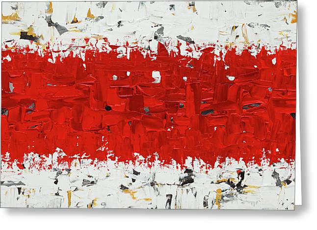 Greeting Card featuring the painting Hashtag Red - Abstract Art by Carmen Guedez