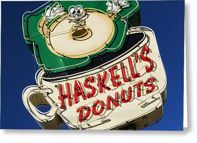 Haskell's Donuts Sign #1 Greeting Card by Stephen Stookey